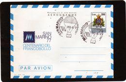 CG47 - 1977 San Marino - Centenario Del Francoollo - Aerogramma Con Annullo Speciale Posta Con Aerostato - Entiers Postaux