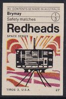Australia Space Weltraum Espace: Readheads Matchbox Label; Tiros 3; USA Meteorological Satellite - Zündholzschachteletiketten