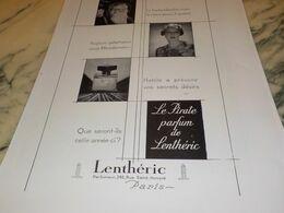 ANCIENNE PUBLICITE PARFUM PIRATE LENTHERIC 1930 - Pubblicitari