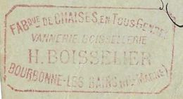 1898 / Carte Commerciale H. BOISSELIER / Vannerie Boissellerie / Fabrique Chaises / 52 Bourbonne Les Bains - France
