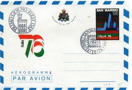 CG47 - 1976 San Marino - Italia 76  - Aerogramma - Entiers Postaux
