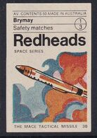 Australia Space Weltraum Espace: Readheads Matchbox Label; The Mace Tactical Missile - Zündholzschachteletiketten