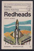 Australia Space Weltraum Espace: Readheads Matchbox Label; Bomarc Interceptor; - Zündholzschachteletiketten
