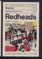 Australia Space Weltraum Espace: Readheads Matchbox Label; Lunar Receiving Lab USA - Zündholzschachteletiketten