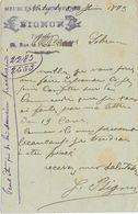 1893 / Carte Commerciale Meubles PIGNON / Tapissier / 65 Rue De Paris / 03 Vichy - France