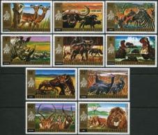 RWANDA 1972 National Park Of Akagera Buffalo Zebra Rhino Hippo Hyena Impala Lion Wild Animals Fauna MNH - Rinocerontes
