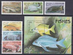 Tr_ Afghanistan 1998 - Mi.Nr. 1805 - 1811 + Block 104 - Postfrisch MNH - Tiere Animals Fische Fishes - Fische