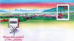 CG47 - 1990 San Marino -  Asiago - Premio Int. D'Arte Filatelica 1 + 1 FDC - Entiers Postaux