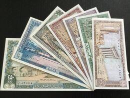LEBANON SET 1 5 10 25 50 100 250 LIVRES BANKNOTES 1980-1988 UNC - Libano