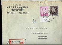 Doc. De VELDEGEM - C C - Du 23/11/66 En Rec. ( E ) - Marcophilie