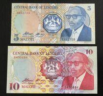 LESOTHO SET 5, 10 MALOTI BANKNOTES 1989-1990 UNC - Lesoto