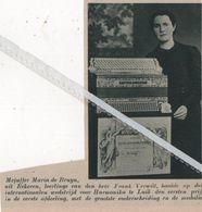 EECKEREN..1937.. MEJUFFER MARIA DE BRUYN LEERLINGE VAN FRANS VERWILT HAALDE PRIJZEN VOOR HARMONIKA - Vecchi Documenti