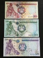 LESOTHO SET 10 20 50 MALOTI BANKNOTES 2007-2009 UNC - Lesoto