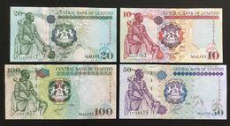 LESOTHO SET 10 20 50 100 MALOTI BANKNOTES 2007-2009 UNC - Lesoto