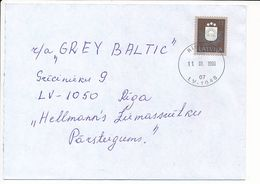 Mi 307 Solo Domestic Cover / Coat Of Arms / Re-valued Nominal - 11 January 1999 Riga-48 - Letonia