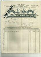 13 - Bouches Du Rhone - Pélissanne - Facture H.V.Merle & Roux  -Huilerie - Belle Vignette - 1921 - Réf. 44 . - France