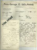 52- Haute Marne- Nogent- Lot De 2 Document- Facture Garage Delanne-Courrier Edmond Congé - Les Forges - 1929 - Réf. 44 . - France