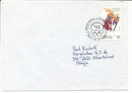 Mi 365 FDC Solo Cover Abroad / Winter Olympics Lillehammer Bobsleigh - 20 April 1994 Riga-50 - Letonia