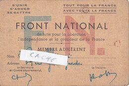 Carte FRONT NATIONAL De Lutte Pour La Libération L'indépendance Et La Grandeur De La France 194. - Mappe