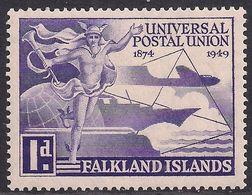 Falkland Islands 1949 KGV1 1d Anniv 75th Postal Union UPU MM SG 168 ( E204 ) - Falklandinseln