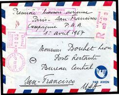 PAN AMERICAN Enveloppe Cover 1er VOL JET CLIPPER PARIS SAN FRANCISCO Au Départ De La Rochelle - Avions