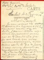 1916 Texte Sur CPA 24 SARLAT Par Soldat Du 110e RI * Cachet Convoyeur Sarlat à Gourdon - Sarlat La Caneda