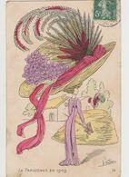 Carte Fantaisie Signée  Vindier / La Parisienne  En 1909/ Femme à La Campagne Avec Un Très Grand Chapeau - Other Illustrators