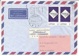 Cover Abroad Forwarded Label Broager - 22 December 1993 Riga - Letonia