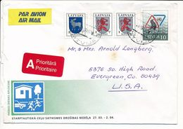 Cover Abroad / Coat Of Arms - 28 March 1995 Riga-84 - Letonia