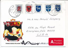 Cover Abroad / Coat Of Arms - 21 May 1996 Riga-84 - Letonia