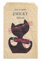 Publicité Ancienne Petit Sac Fil Couture Soie à Coudre ZWICKY Nähseide Chat Noir Avec Moustaches En Fil De Soie 10/15 Cm - Pubblicitari