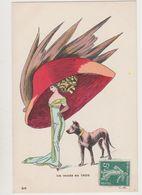 Carte Fantaisie / La Mode En 1909 - N°95  - Femme Avec Très Grand Chapeau Et Son Chien - Fashion