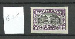 ESTLAND Estonia 1924 Theater Michel 55 G: 1 Probedruck Proof Essay MNH - Estonie