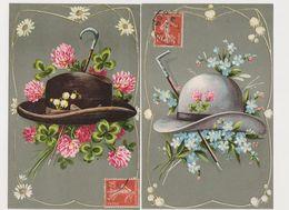 2 Cartes Fantaisie Gaufrées /  Mode - Chapeau Et Cane Pour Homme - Männer