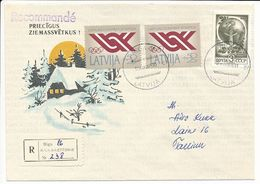 Registered Mixed Franking Cover Abroad - 25 February 1992 Riga-16 - Letonia