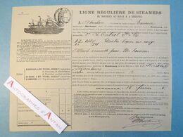 Navire EMMA Capitaine ABRAHAM Bordeaux 1884 Connaissement Maritime Cabrol Vin - Trasporti