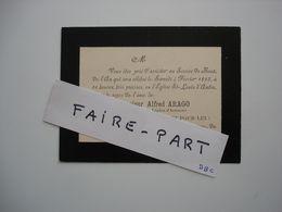 FAIRE-PART DECES 1893 ARAGO église St-Louis-d'Antin Paris * - Avvisi Di Necrologio
