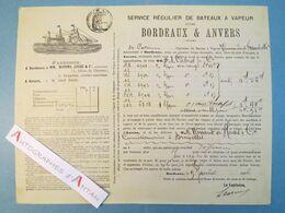 Bordeaux & Anvers 1886 > De HAAS - Connaissement Maritime Transport Vin Rouge - Trasporti