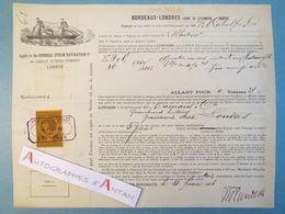 Bordeaux Londres London 1886 Albatross Connaissement Maritime Transport Vin - Trasporti