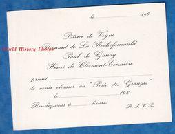 Carte D'invitation à La Chasse - Prés VAUX LE VICOMTE MELUN - Patrice De Vogüé Paul De Ganay Henri De Clermont Tonnerre - Jagd