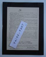 FAIRE-PART DECES 1910 SACHY De FOURDRINOY De LA MARLIERE De ROCHEBROCHARD Pezou Loir-Cher * - Avvisi Di Necrologio