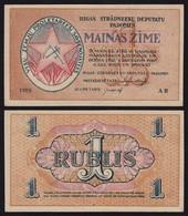 Lettland - Latvia 1 Rubli 1919 Riga Soviet Governement Pick R1 AUNC (1-) - Letland