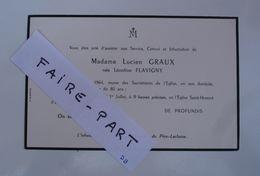 FAIRE-PART DECES 1964 GRAUX FLAVIGNY Paris Père Lachaise * - Avvisi Di Necrologio