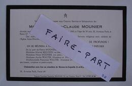 FAIRE-PART DECES 1965 MOUNIER BELLOUIN WALTER JOURDAIN SIDOUX Marnes-Coquette * - Avvisi Di Necrologio