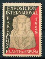 """VIGNETTE De 1929 De L'Exposition Internationale De BARCELONE """"L'ART EN ESPAGNE"""" - Barcelona"""