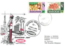 (H 8) Belgium - Sabena 707 Airline - Flight To Bahamas (Bahamas Stamps - 1974) - Bahamas (1973-...)