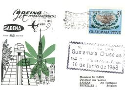 (H 8) Belgium - Sabena 707 Airline - Flight To Central America (Guatemala Stamp - 1988) - Guatemala