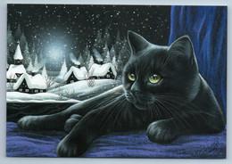 BLACK CAT Snow Winter Village Peasant Night By Garmashova Russian New Postcard - Tierwelt & Fauna