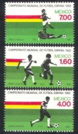 115. MEXICO 1982 SET/3 STAMP M/S WORLD CUP FOOTBALL. MNH - Messico