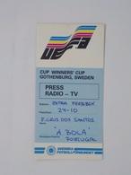 Cx13 B) Football 1983 Cup Winners' Cup Gothenburg Sweden UEFA Press Card Extra Pressboy 15x7,5cm - Andere
